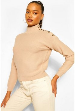 Taupe beige Button Shoulder Jumper