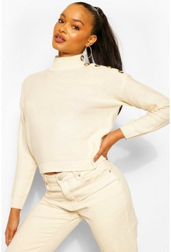 Button Shoulder Detail Jumper, Stone beige