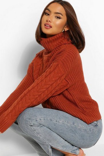 Rust orange Cable Knit Jumper