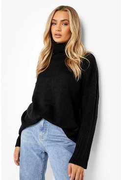 Black Oversized Roll Neck Sweater