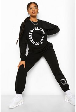 Black Blessed Not Stressed Hoodie And Sweatshirt Co-Ord