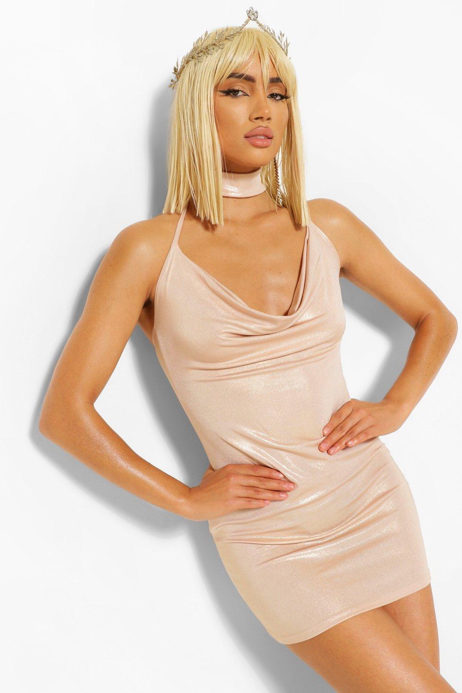 Gold Dresses Halloween Metailic Cowl Choker Mini Dress