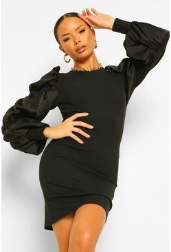 Black Satin Ruched Puff Sleeve Rib Mini Dress