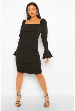 Black Rouched Shirred Sleeve Puff Detail Mini Dress