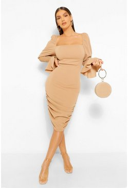Stone beige Rouched Shirred Sleeve Puff Detail Mini Dress