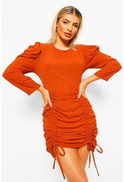 Burnt orange orange Extreem Geplooide Mini Jurk