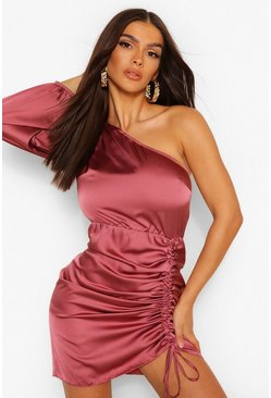 Rose pink Satin One Shoulder Rouche Mini Dress