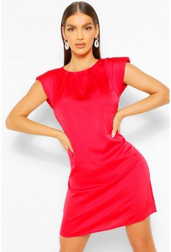 Red Satin Shoulder Pad Shift Dress
