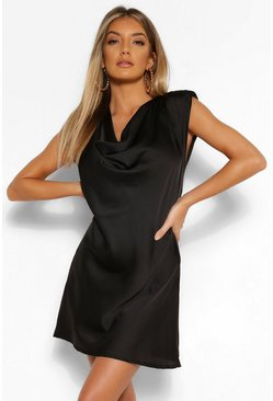 Black Satin Cowl Shoulder Pad Shift Dress