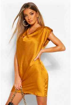 Mustard yellow Satin Cowl Shoulder Pad Shift Dress
