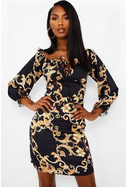 Black Satin Chain Print Tie Front Shift Dress