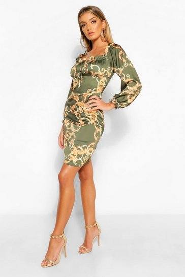Khaki Satin Chain Print Tie Front Shift Dress