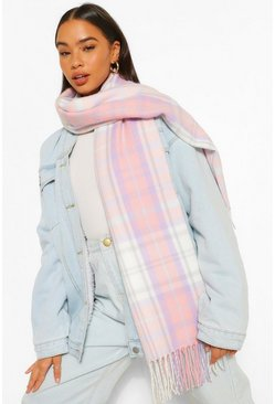 Lilac Pastel Check Fringe Scarf