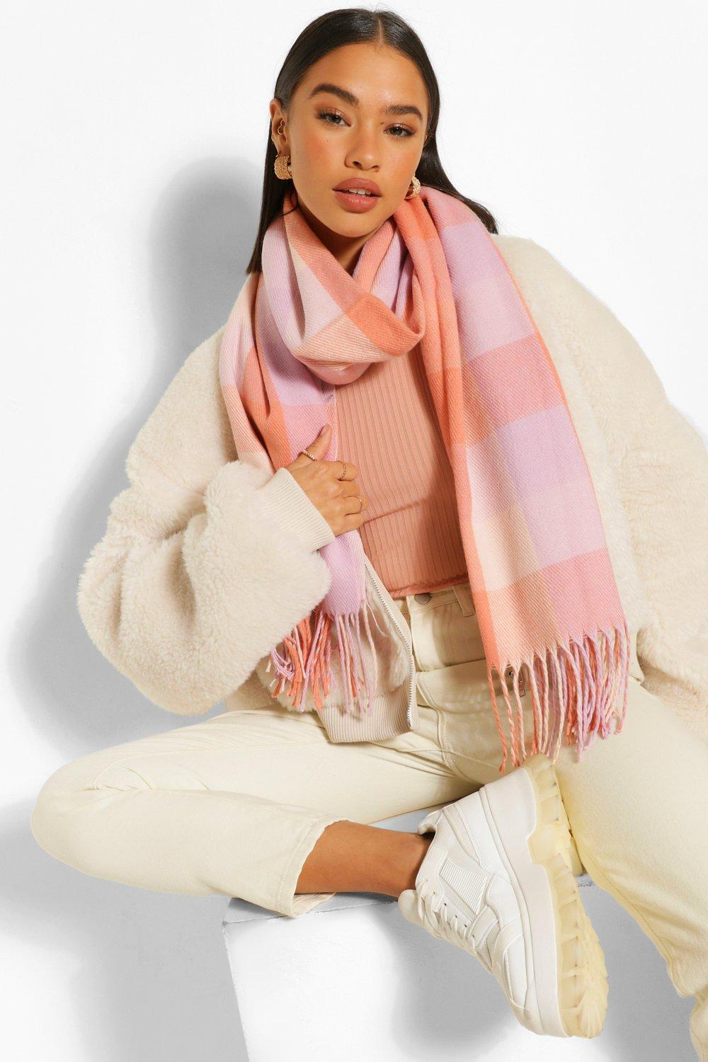 ACCESSORIES Pastel Check Fringe Scarf