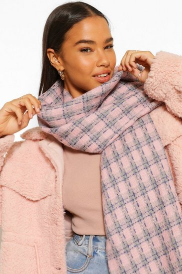 Pink Oversized Check Scarf