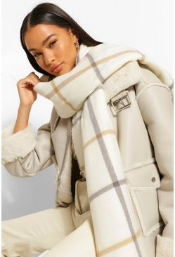 Cream Oversized Large Scale Check Scarf