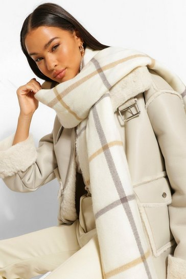 Cream white Oversized Large Scale Check Scarf