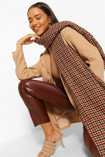 Brown Mini Dogtooth Oversized Herritage Scarf