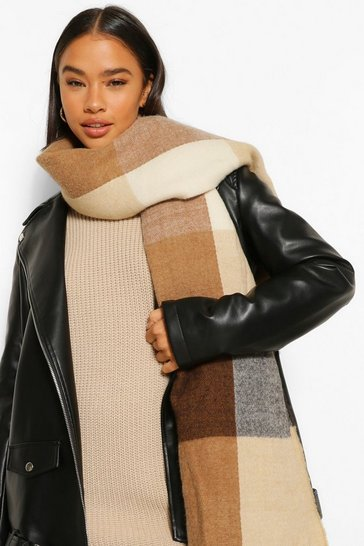 Camel beige Colour Block Panelled Oversized Scarf