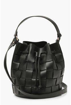 Pu Weave Bucket Bag Cross Body, Black negro