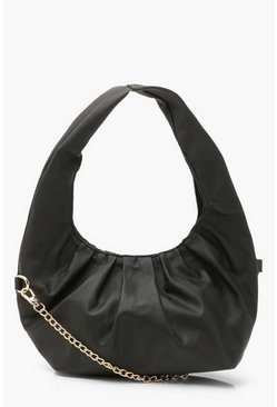 Black Gathered Sloughy Day Bag