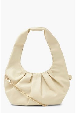 Cream white Gathered Sloughy Day Bag