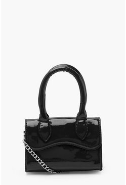 Black Patent Mini Structured Handle Cross Body Bag