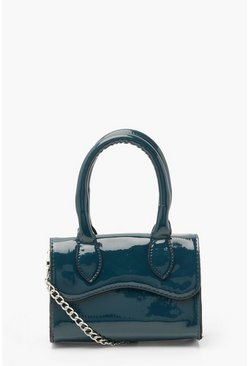 Marineblauw navy Gelakte Leren Mini Crossbody Tas
