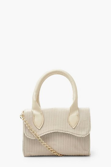 Cream white Cord Mini Structured Handle Cross Body Bag