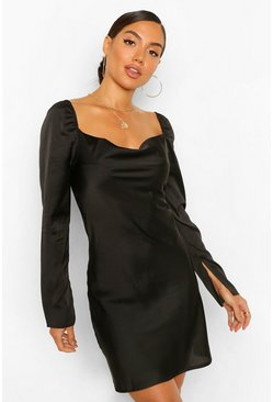 Black Satin Cowl Split Sleeve Shift Dress
