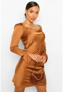 Chocolate brown Satin Cowl Split Sleeve Shift Dress