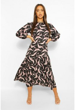 Black Bird Print Long Sleeve Midi Dress