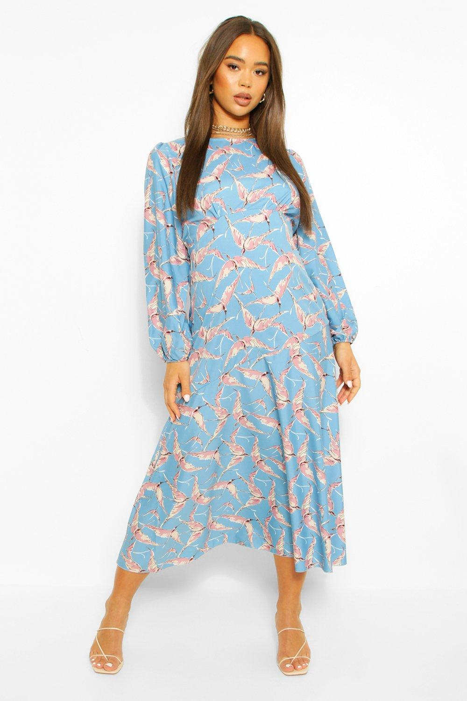 DRESSES Bird Print Long Sleeve Midi Dress