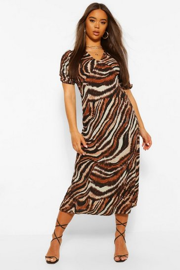 Brown Mixed Zebra Print Midi Dress