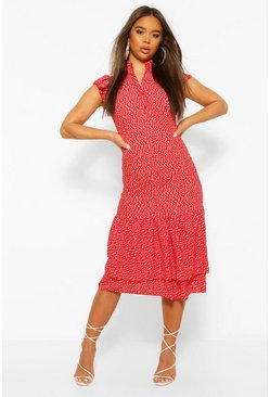 Red High Neck Polka Dot Midaxi Dress