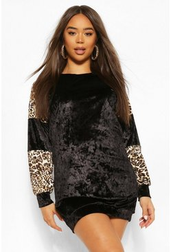 Black Leopard Contrast Velvet Colour Block Dress