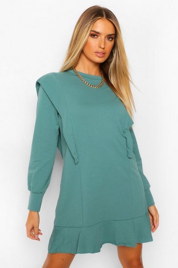Turquoise blue Shoulder Detail Frill Hem Sweat Dress