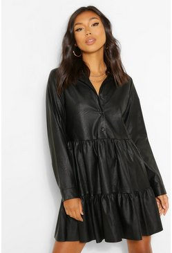 Black PU Long Sleeve Smock Shirt Dress