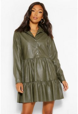 Khaki PU Long Sleeve Smock Shirt Dress