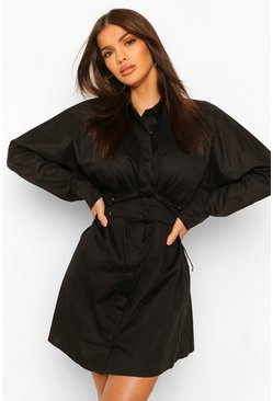 Black Volume Sleeve Corset Detail Shirt Dress