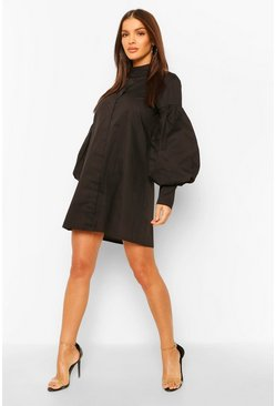 Black Volume Sleeve High Neck Shirt Dress