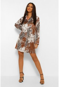 Chocolate brown Mix Printed Shirt Dress