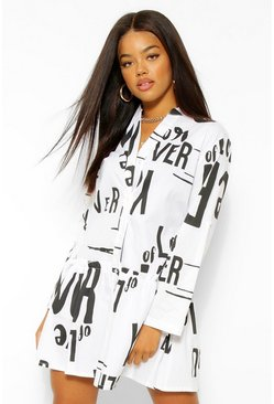 White Slogan Smock Dress