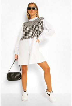 White Dogtooth Shirt Insert Shirt Dress