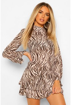 Black Zebra Funnel Neck Skater Dress
