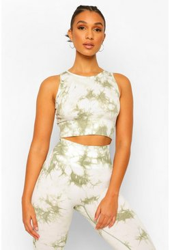 Sage green Tie Dye Seamless Active Longline Crop