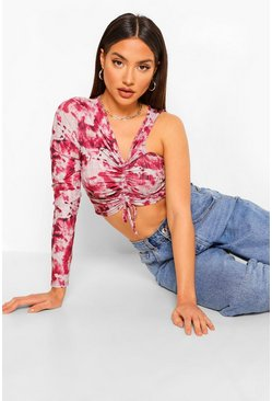 Plum Printed Ruched Front Crop Top