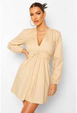 Stone beige Ruched Button Detail Skater Dress