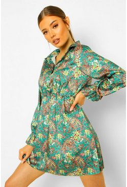 Paisley Print Button Skater Dress, Green verde