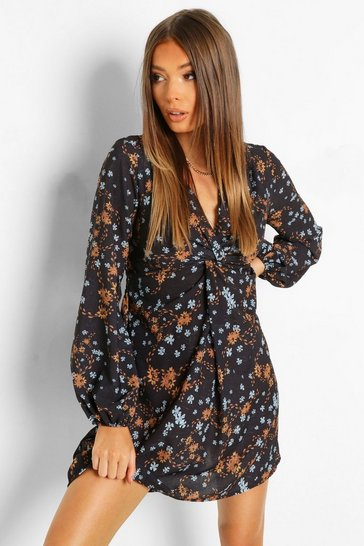 Black Printed Tie Front Skater Dress